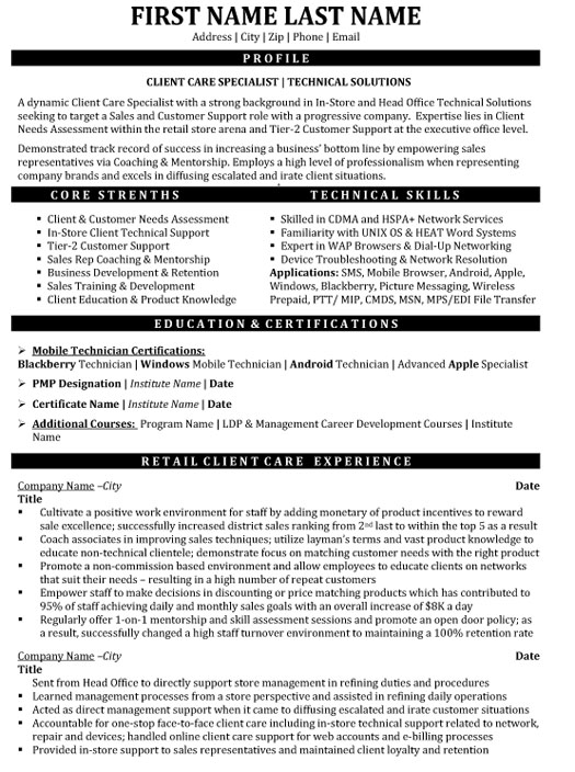 client care specialist resume sample template customer service technical solutions Resume Customer Service Specialist Resume Sample