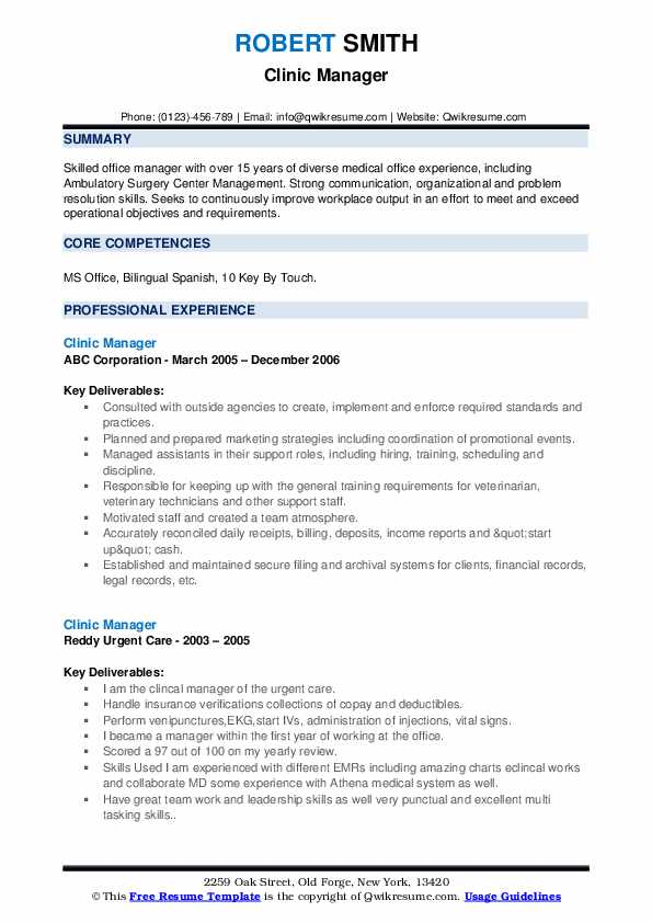 clinic manager resume samples qwikresume healthcare office sample pdf professional Resume Healthcare Office Manager Resume Sample