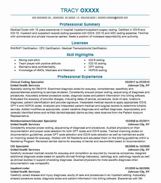 clinical coding specialist resume example livecareer sample for medical writing hotel Resume Sample Resume For Medical Coding Specialist