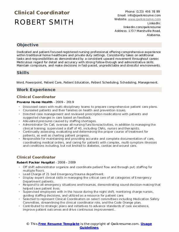 clinical coordinator resume samples qwikresume with experience pdf scholarship objective Resume Resume With Clinical Experience