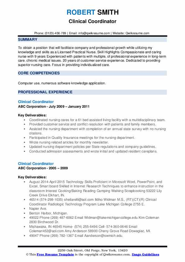 clinical coordinator resume samples qwikresume with experience pdf structure good titles Resume Resume With Clinical Experience