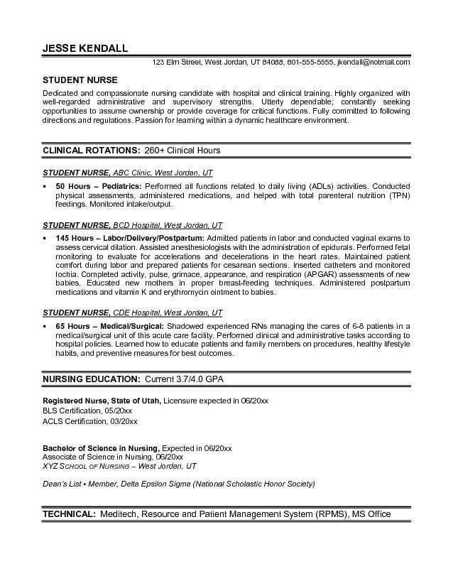 clinical nursing resume template examples new grad school objective responsibilities Resume Nursing School Resume Objective