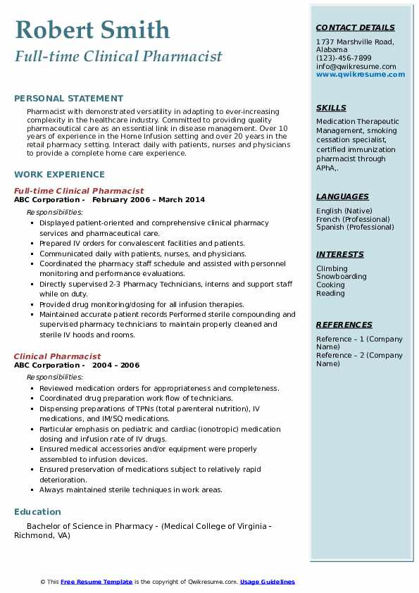 clinical pharmacist resume samples qwikresume career objective for pdf construction Resume Career Objective For Pharmacist Resume