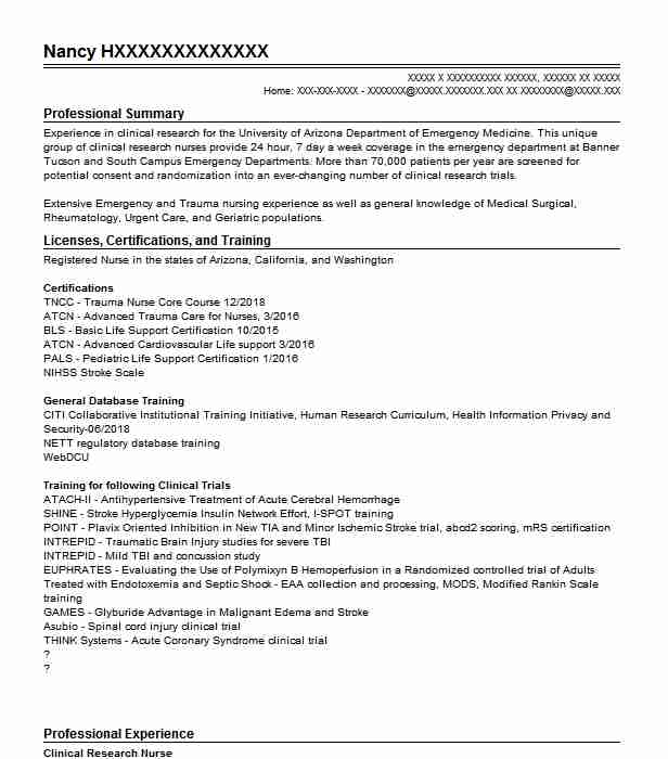 clinical research nurse resume example nursing resumes livecareer with experience good Resume Resume With Clinical Experience