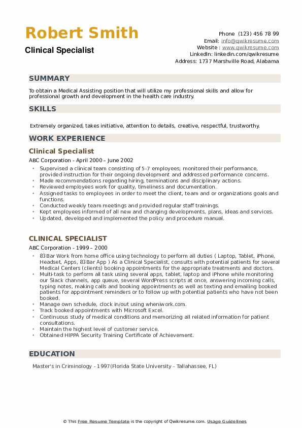 clinical specialist resume samples qwikresume example of for criminology pdf oracle Resume Example Of Resume For Criminology