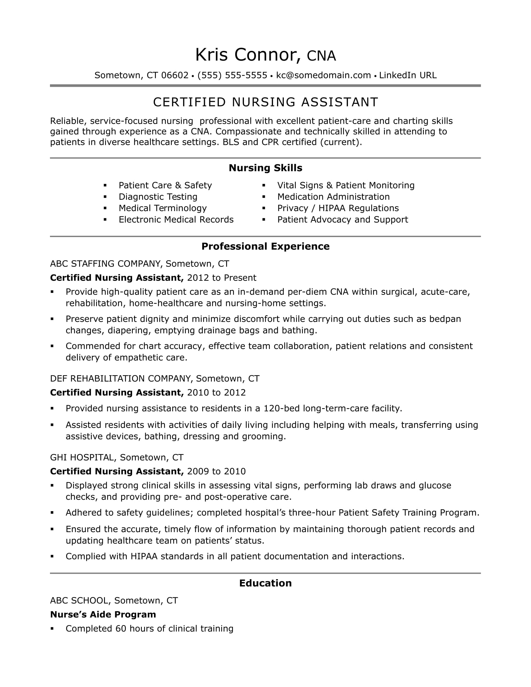 cna resume examples skills for cnas monster sample nursing aide without experience Resume Sample Resume For Nursing Aide Without Experience