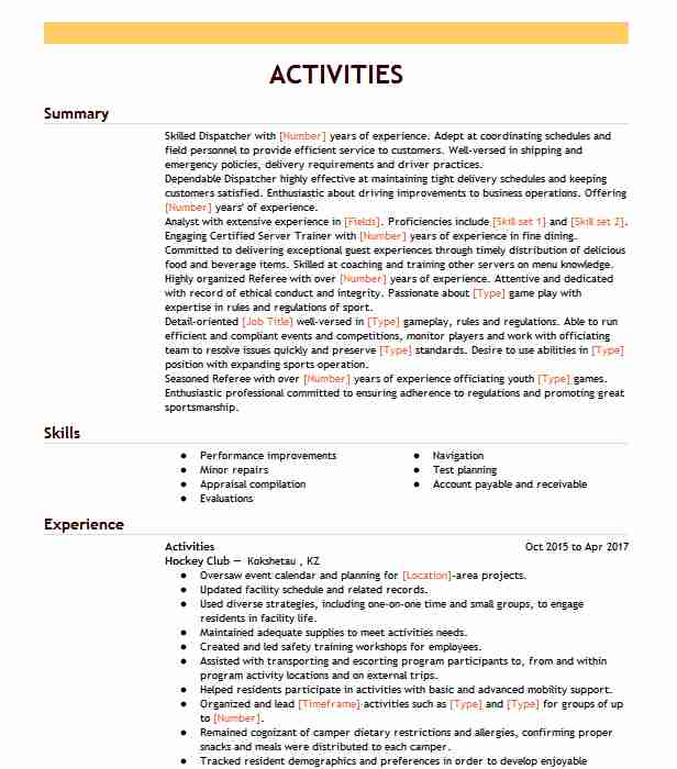 co curricular activities resume example educational project north carolina for freshers Resume Activities For Resume For Freshers