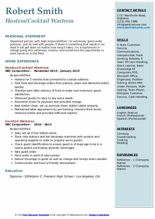 cocktail waitress resume samples qwikresume bottle service pdf police officer experience Resume Bottle Service Waitress Resume