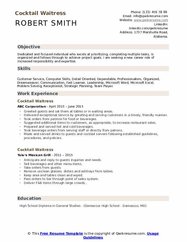 cocktail waitress resume samples qwikresume experience examples pdf medical skills for Resume Waitress Resume Experience Examples