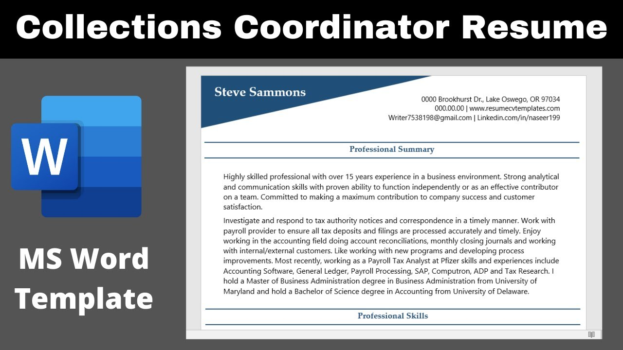 collections coordinator resume or cv sample template ms word free personal trainer format Resume Collections Coordinator Resume