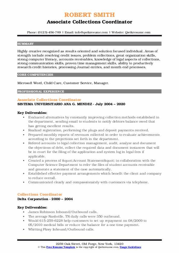 collections coordinator resume samples qwikresume pdf dsp skills background best free Resume Collections Coordinator Resume
