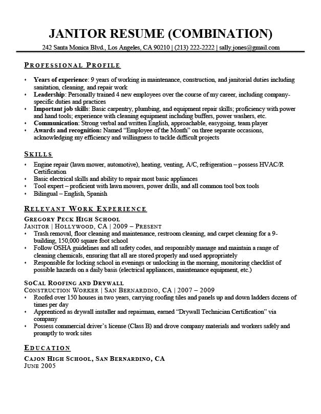 combination resume template examples writing guide format janitor sample radiologic Resume Combination Resume Format