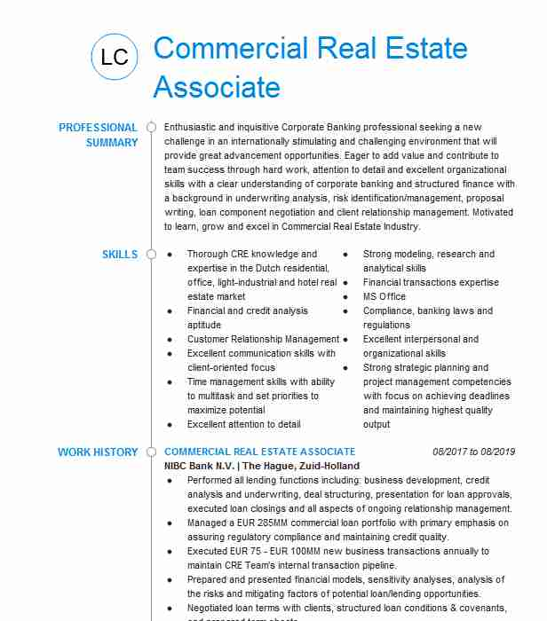 commercial estate associate resume example cre brokerage dover medical insurance Resume Commercial Real Estate Resume