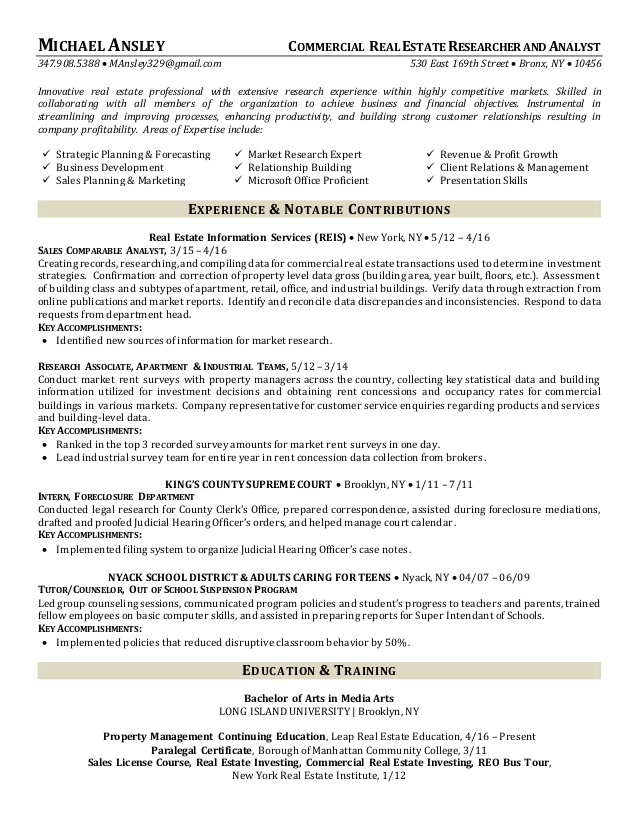 commercial estate researcher and analyst resume bld charge sdet intro samples project Resume Commercial Real Estate Resume