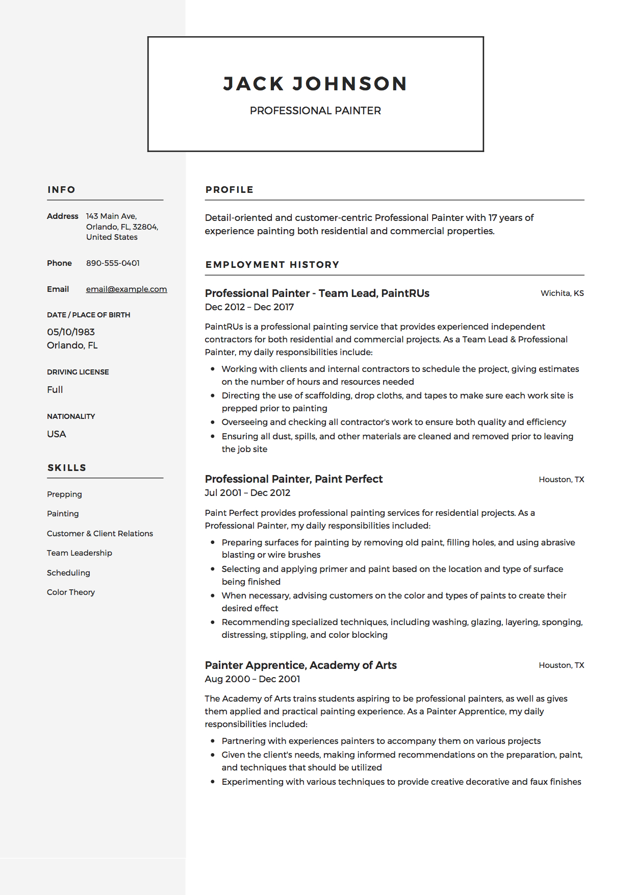 commercial painter resume guide samples pdf description for professional example human Resume Painter Description For Resume