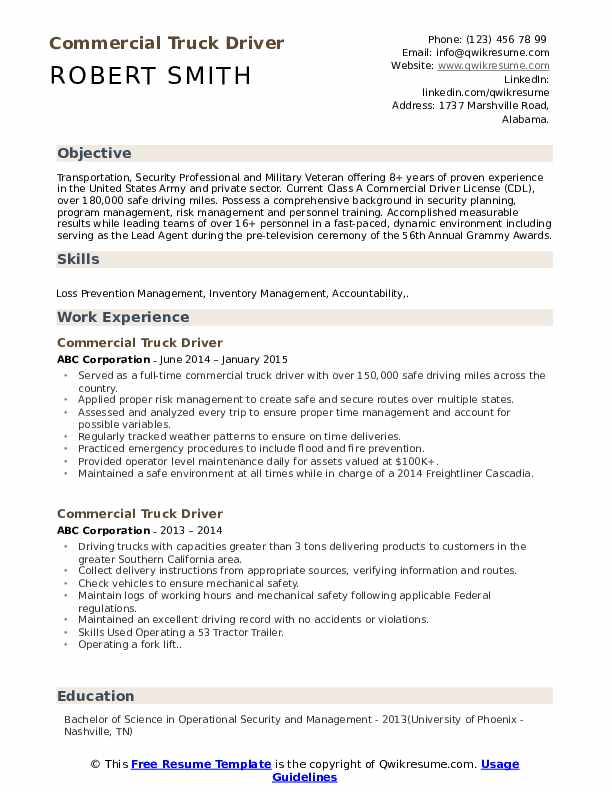 commercial truck driver resume samples qwikresume objective pdf performance appraisal Resume Truck Driver Resume Objective