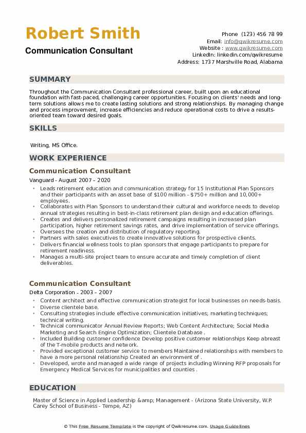 communication consultant resume samples qwikresume business example pdf home care Resume Business Communication Resume Example