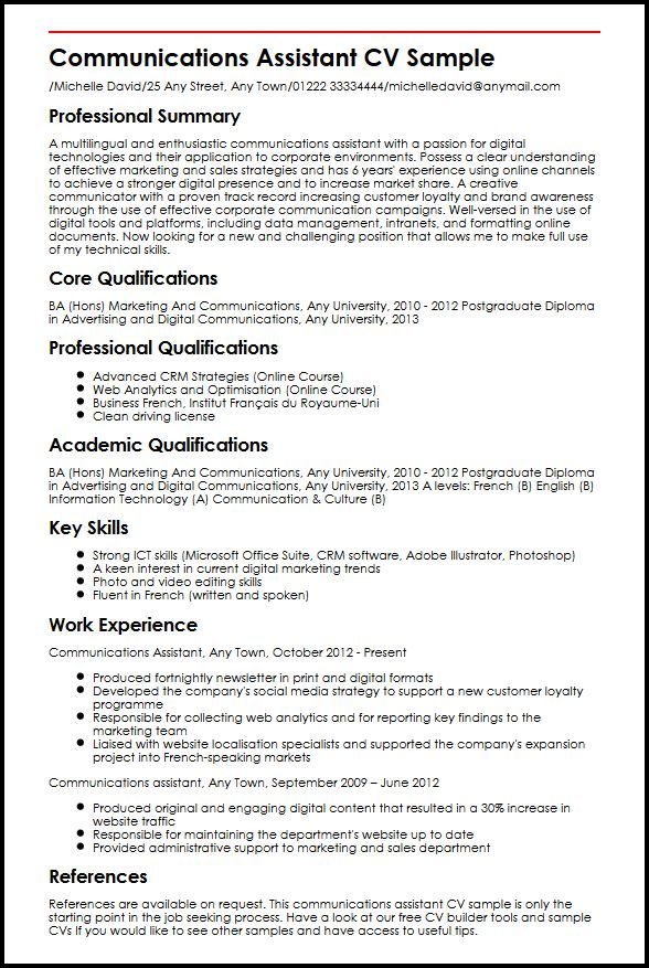 communications assistant cv example myperfectcv business communication resume sample Resume Business Communication Resume Example
