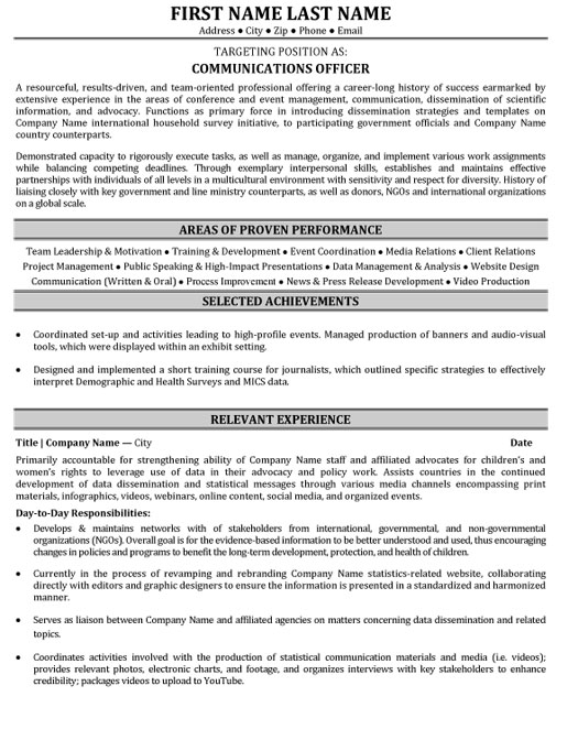 communications officer resume sample template production mm format for service manager Resume Production Officer Resume Sample