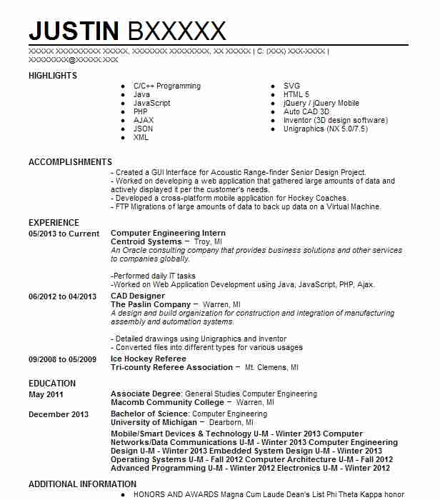 computer engineering intern resume example nasa space center alvin template for Resume Resume Template For Internship Engineering