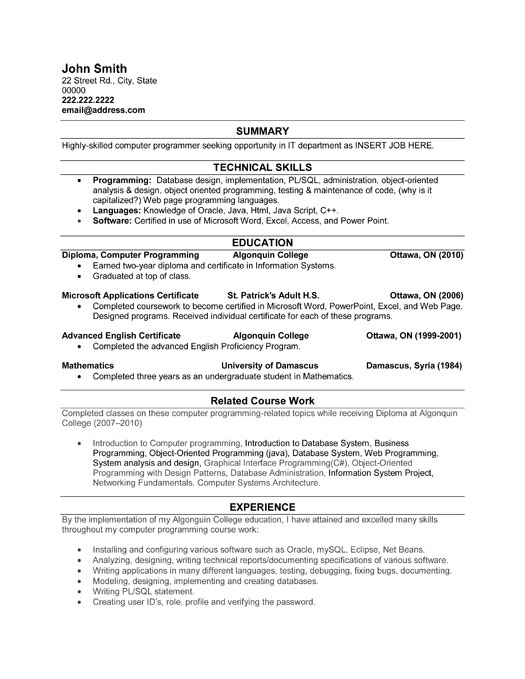 computer programmer resume sample template examples student it font size flight attendant Resume Programmer Resume Examples