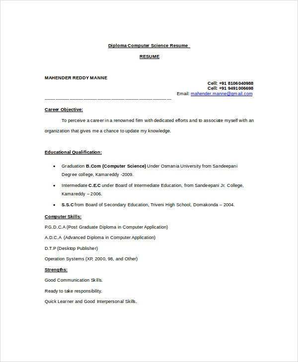 computer science resume example free word pdf documents premium templates for msc Resume Resume For Msc Computer Science Freshers