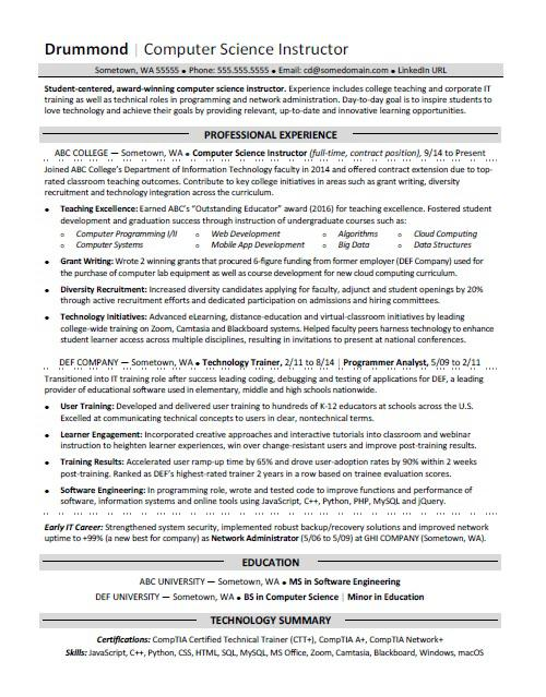 computer science resume sample monster conflict resolution engineering technologist Resume Sample Computer Science Resume