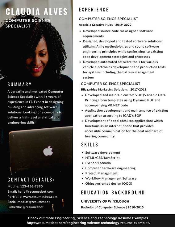 computer science resume samples and tips pdf resumes bot sample example print Resume Sample Computer Science Resume