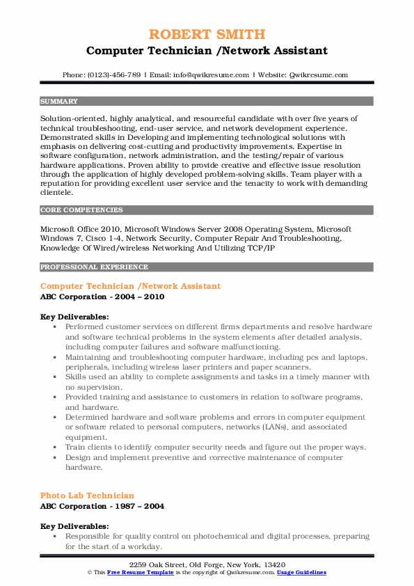 computer technician resume samples qwikresume entry level pc pdf rodbuster web and Resume Entry Level Pc Technician Resume