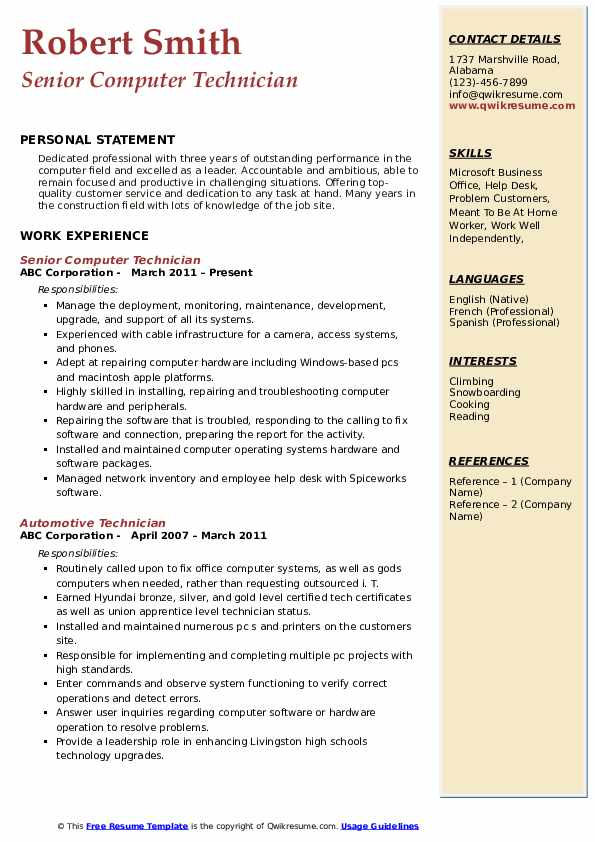 computer technician resume samples qwikresume entry level pc pdf structural supervisor Resume Entry Level Pc Technician Resume