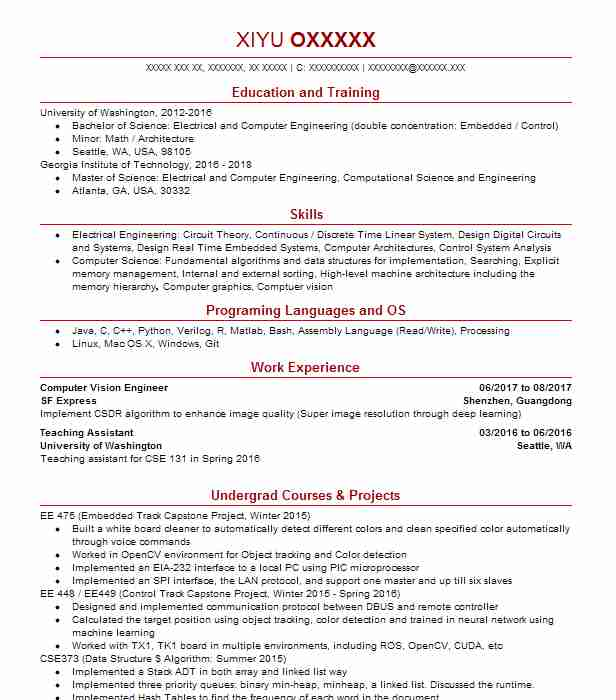 computer vision engineer resume example yadle mountain view python machine learning Resume Python Machine Learning Resume