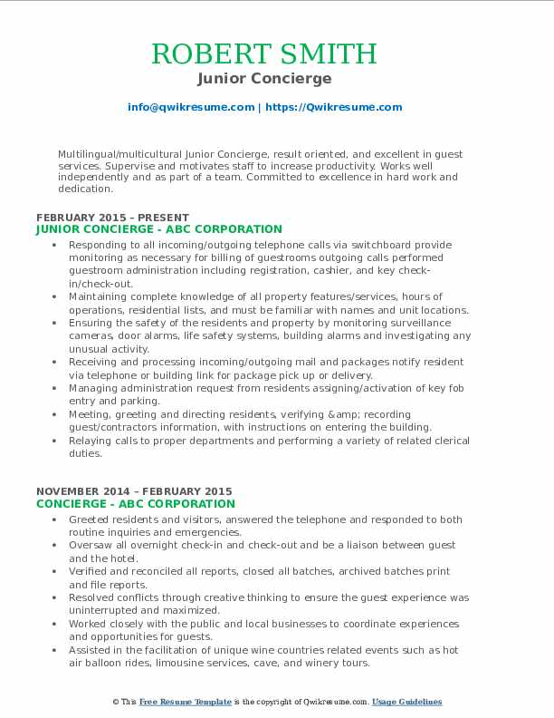 concierge resume samples qwikresume residential duties pdf format for finance and Resume Residential Concierge Duties Resume