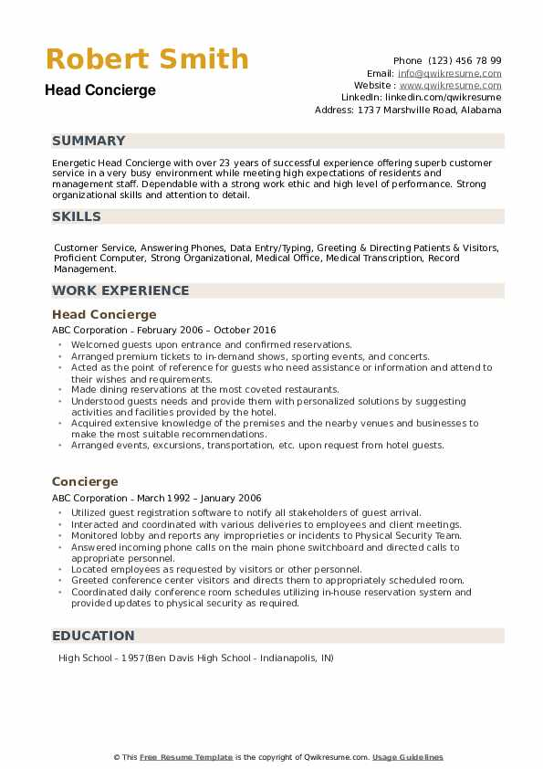 concierge resume samples qwikresume residential duties pdf networking for year experience Resume Residential Concierge Duties Resume