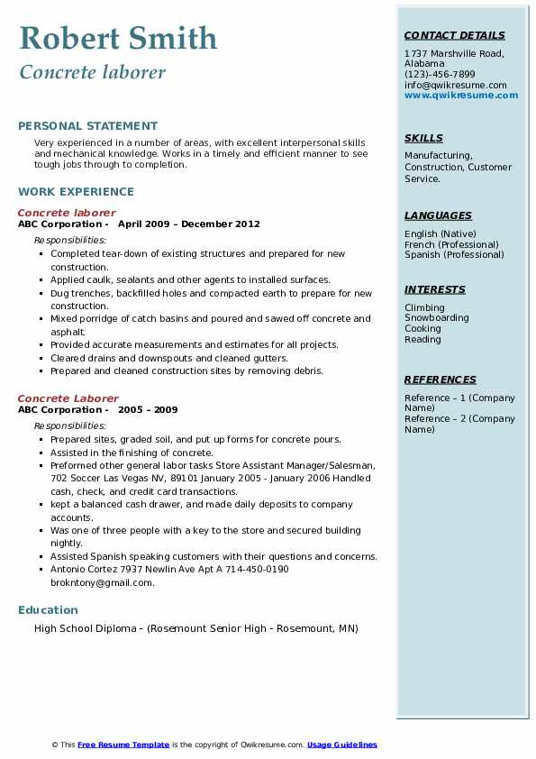 concrete laborer resume samples qwikresume for cement industry pdf duty after vacation Resume Resume For Cement Industry