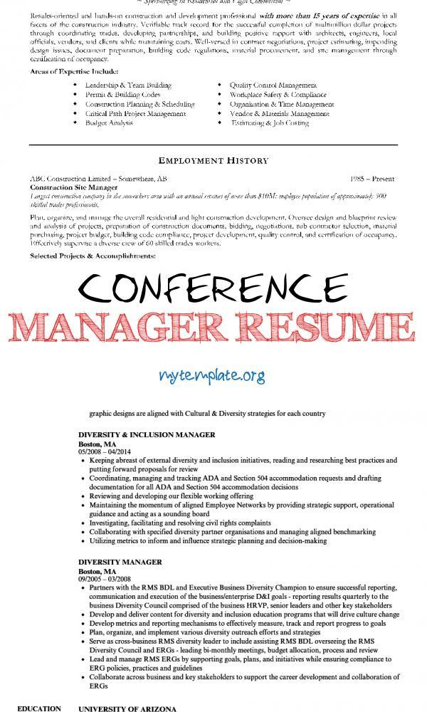 conference manager resume free templates diversity of construction pin human resources Resume Diversity Manager Resume