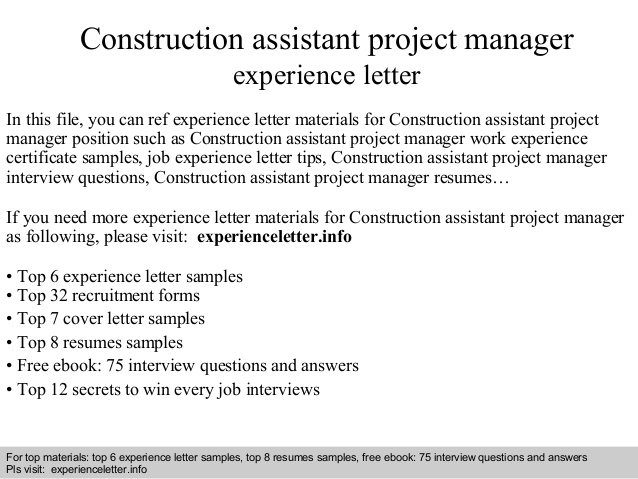 construction assistant project manager experience letter resume paypal template Resume Assistant Project Manager Construction Resume