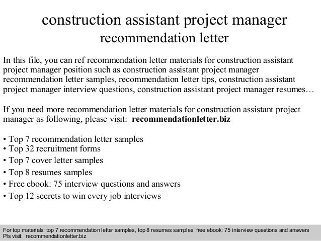 construction assistant project manager recommendation letter resume overleaf template for Resume Assistant Project Manager Construction Resume