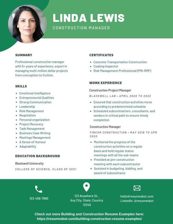 construction manager resume samples templates pdf resumes bot project example writing for Resume Project Manager Resume 2020