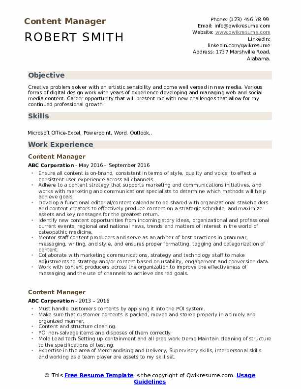 content manager resume samples qwikresume objective for media pdf gym examples updated Resume Objective For Media Resume