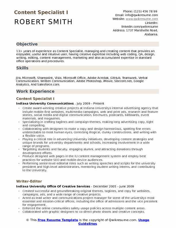 content specialist resume samples qwikresume objective for media pdf now cost templates Resume Objective For Media Resume