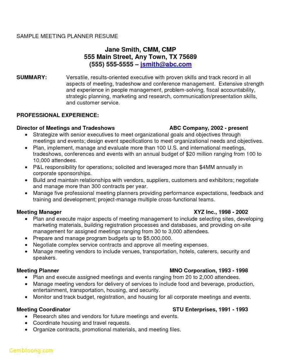 cool collection of sample resume onsite experience meeting planner event planning jobs Resume Meeting Coordinator Resume