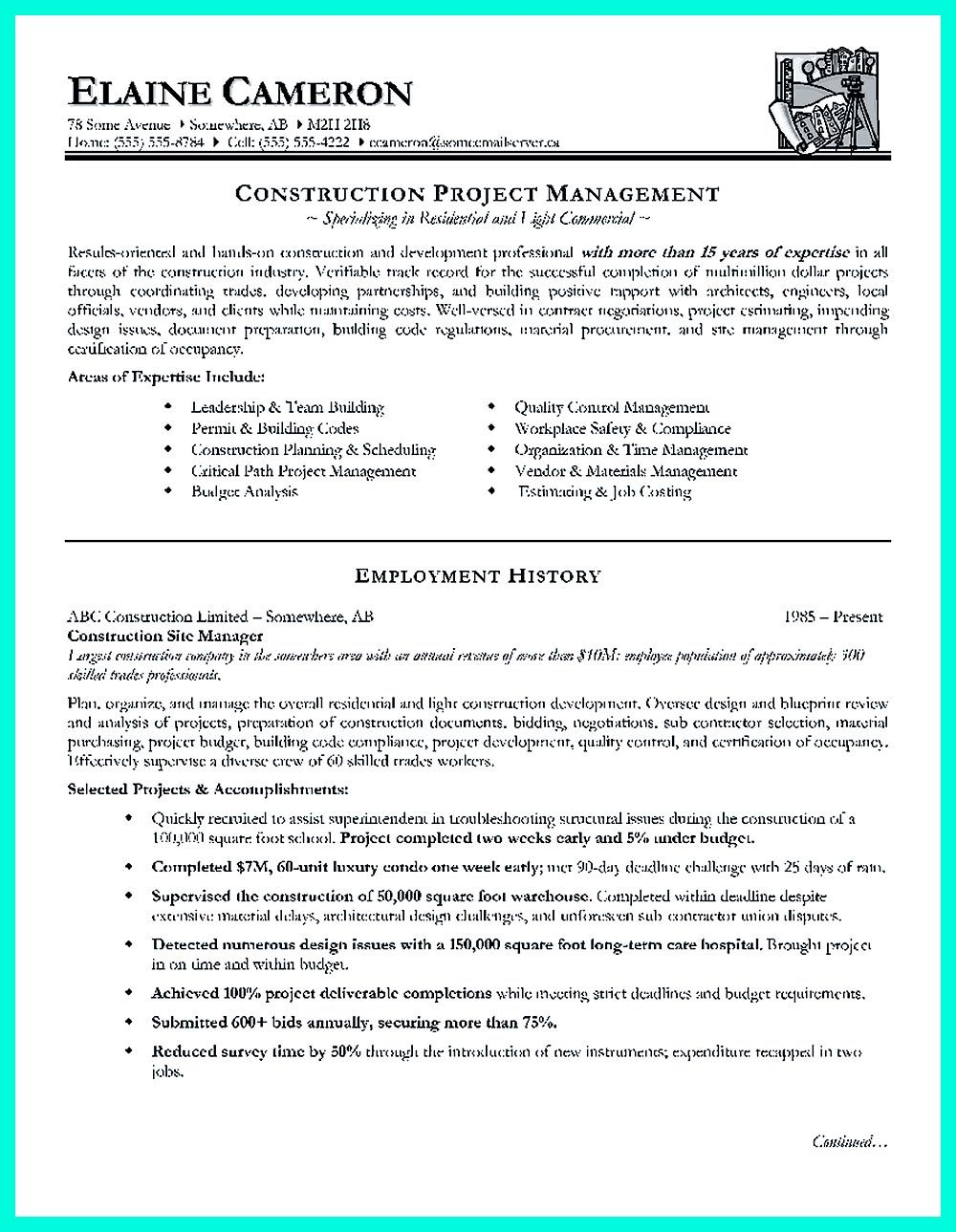 cool construction project manager resume to get applied pdf examples template envato for Resume Project Manager Resume Examples 2018