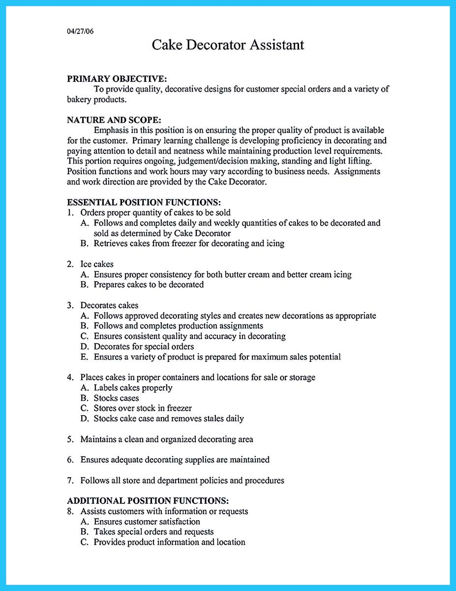 cool flawless cake decorator resume to guide you your best job check more at http snefci Resume Cake Decorator Resume Sample