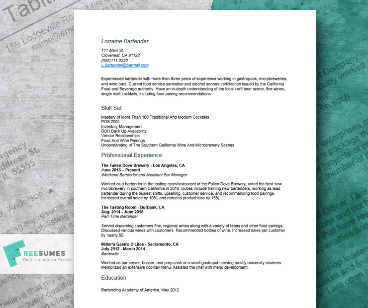 cool resume example for bartenders freesumes bartending template creative bartender entry Resume Bartending Resume Template Creative