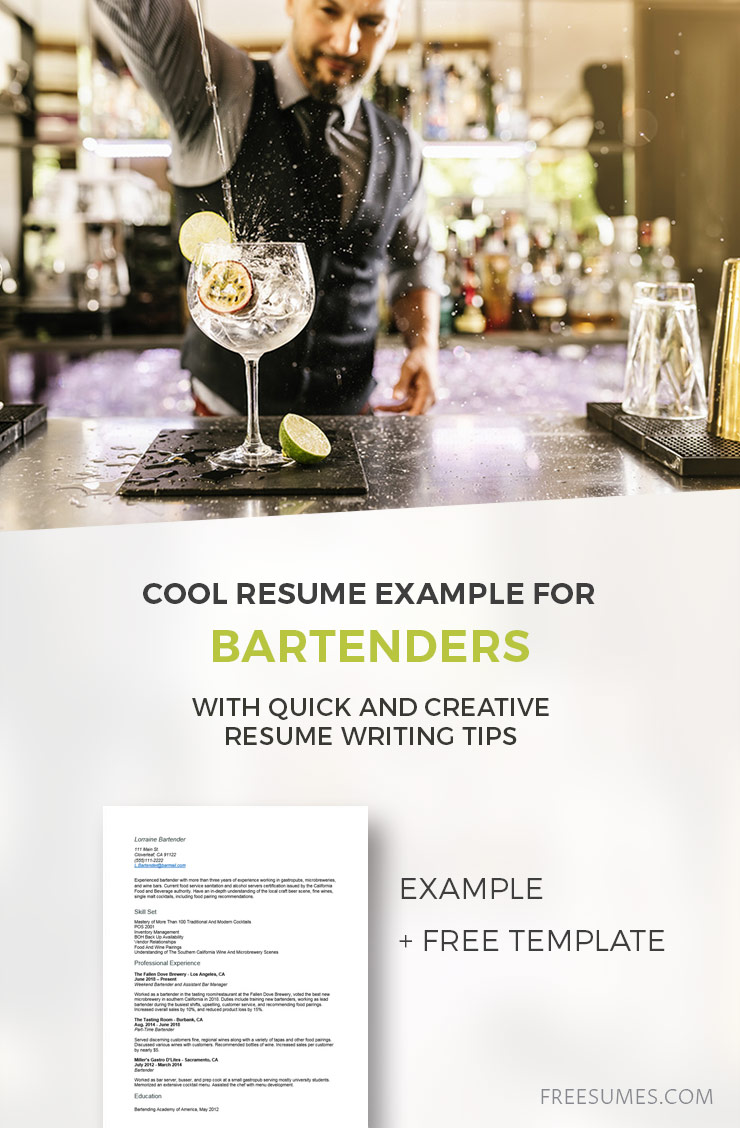 cool resume example for bartenders freesumes bartending template creative sample Resume Bartending Resume Template Creative