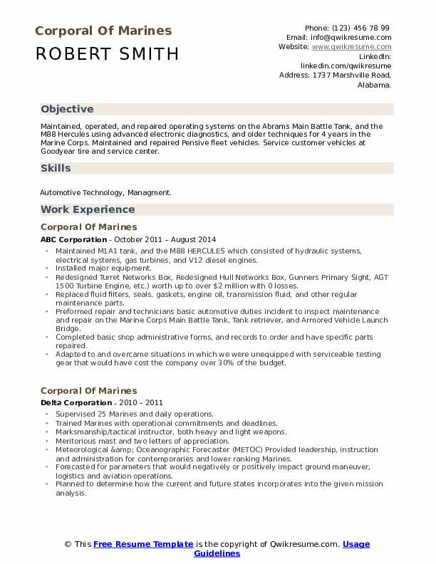 corporal of marines resume samples qwikresume marine corps skills for pdf maker from Resume Marine Corps Skills For Resume