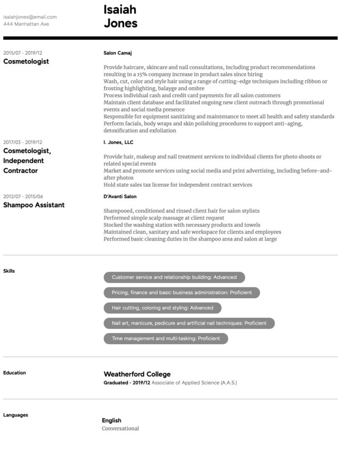 cosmetology resume samples all experience levels sample intermediate good objective for Resume Cosmetology Resume Sample