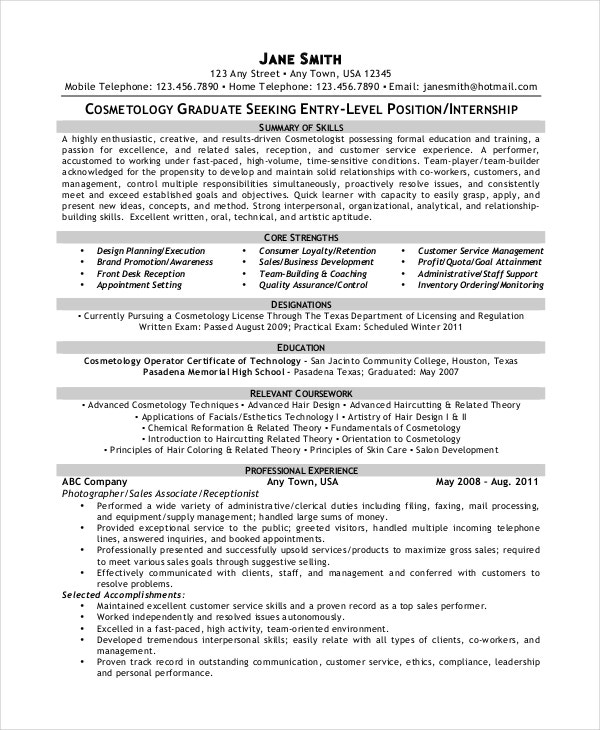 cosmetology resume templates pdf free premium sample template lms administrator examples Resume Cosmetology Resume Sample
