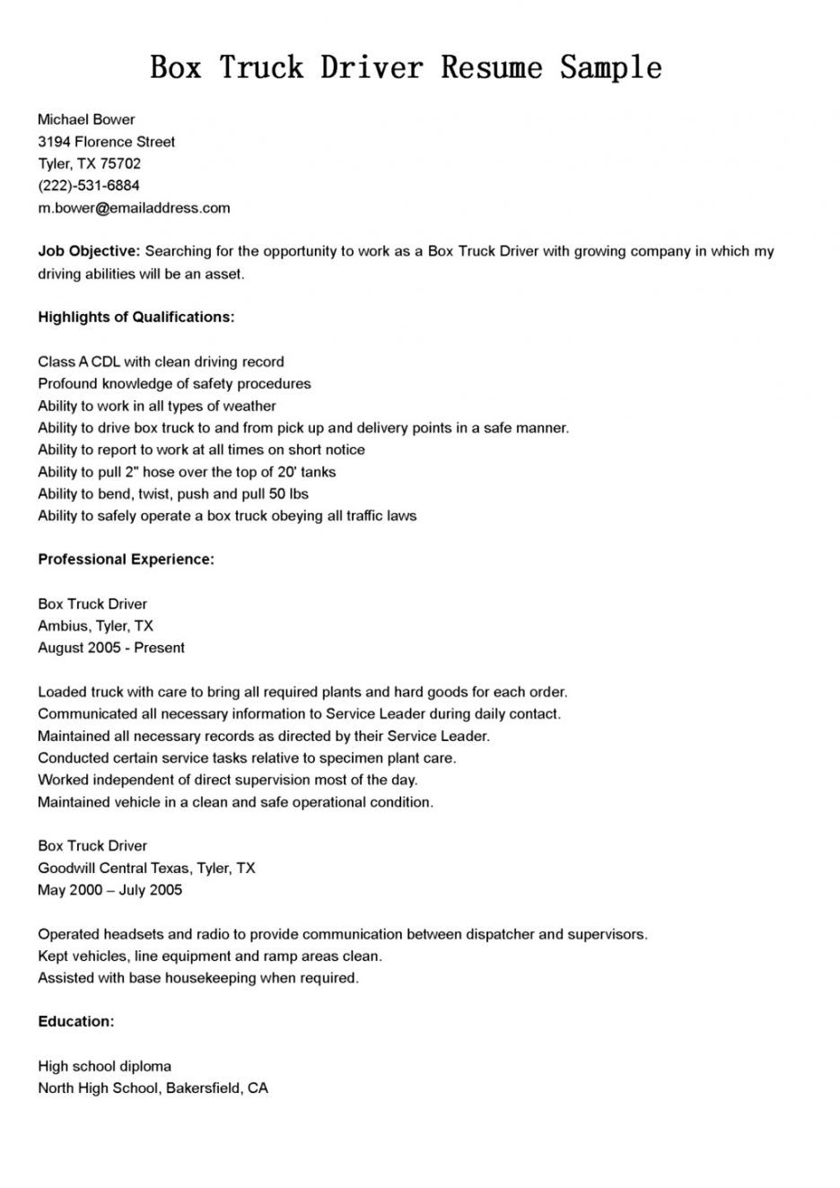 cover letter cdl driver resume for delivery truck sample format templates objective Resume Driver Resume Objective Sample
