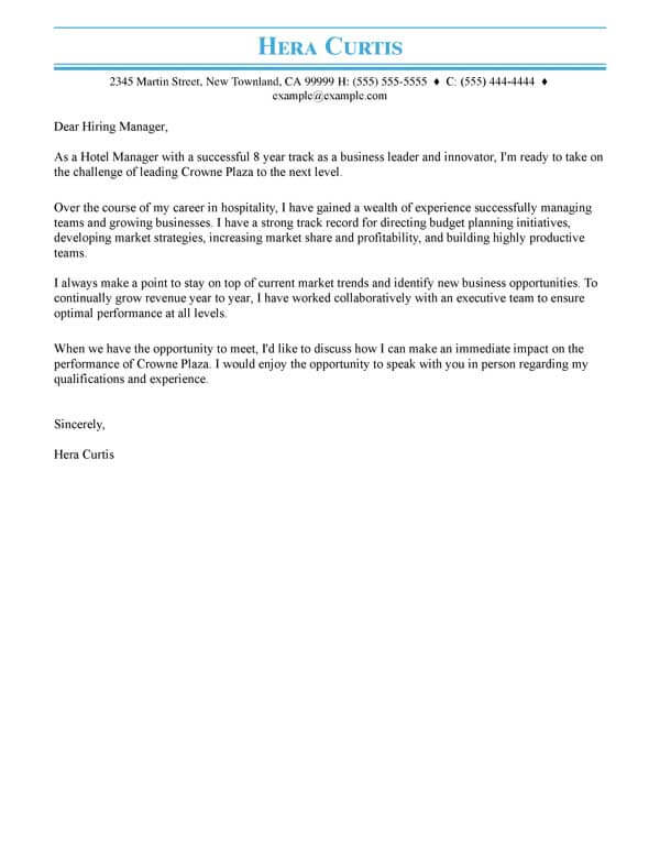 cover letter examples write the perfect resume email example hospitality hotel manager Resume Resume Cover Email Example